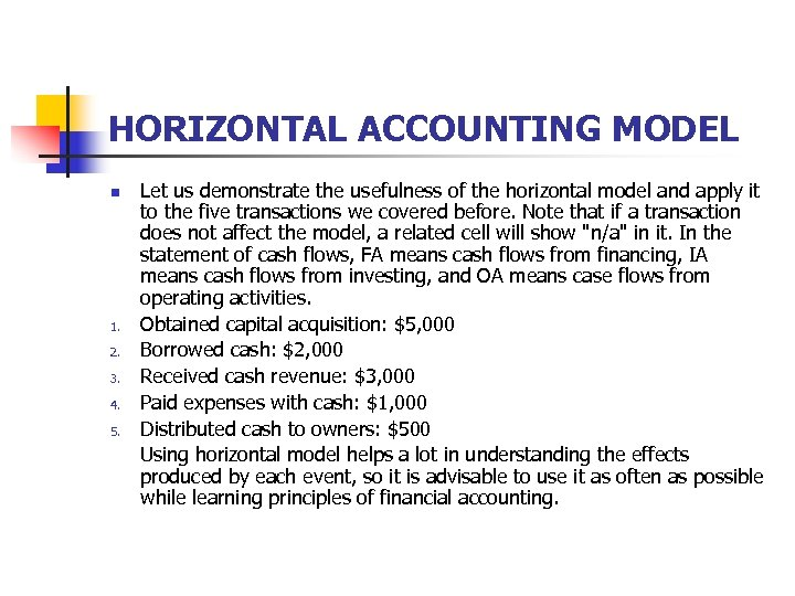 HORIZONTAL ACCOUNTING MODEL n 1. 2. 3. 4. 5. Let us demonstrate the usefulness