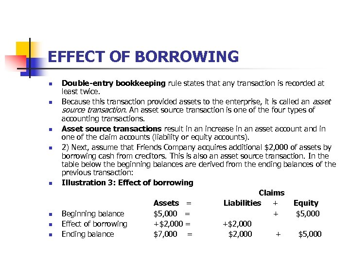 EFFECT OF BORROWING n n n n Double-entry bookkeeping rule states that any transaction