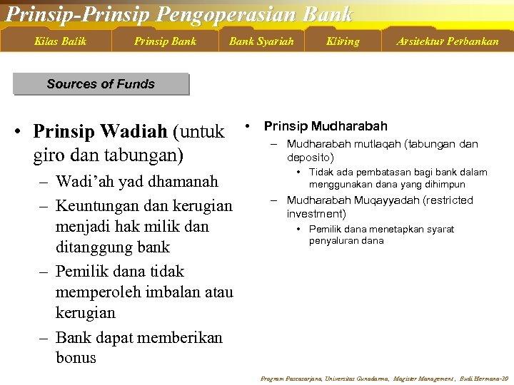 Prinsip-Prinsip Pengoperasian Bank Kilas Balik Prinsip Bank Syariah Kliring Arsitektur Perbankan Sources of Funds
