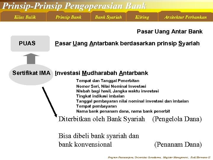 Prinsip-Prinsip Pengoperasian Bank Kilas Balik Prinsip Bank Syariah Kliring Arsitektur Perbankan Pasar Uang Antar