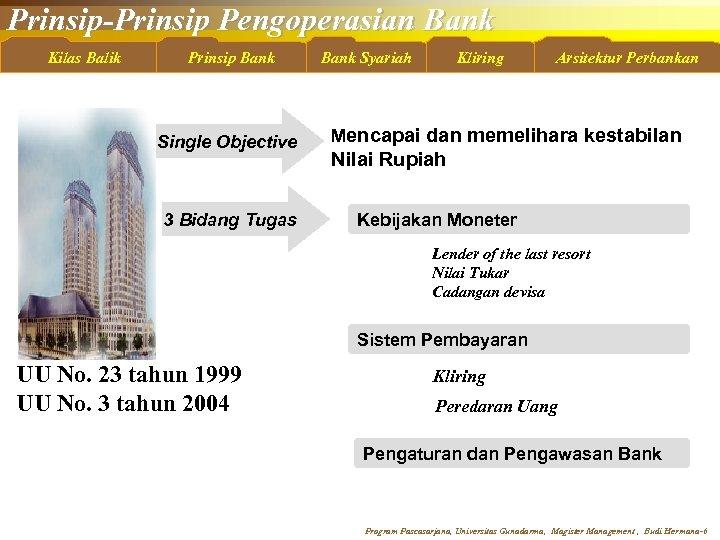 Prinsip-Prinsip Pengoperasian Bank Kilas Balik Prinsip Bank Single Objective 3 Bidang Tugas Bank Syariah