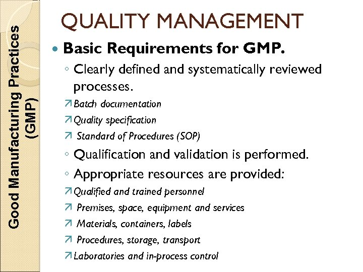Good Manufacturing Practices (GMP) QUALITY MANAGEMENT Basic Requirements for GMP. ◦ Clearly defined and