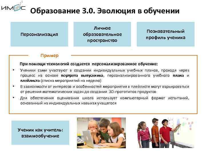 Образование 3. 0. Эволюция в обучении Персонализация Личное образовательное пространство Познавательный профиль ученика Пример