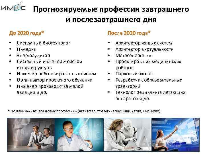 Прогнозируемые профессии завтрашнего и послезавтрашнего дня До 2020 года* • • Системный биотехнолог IT-медик