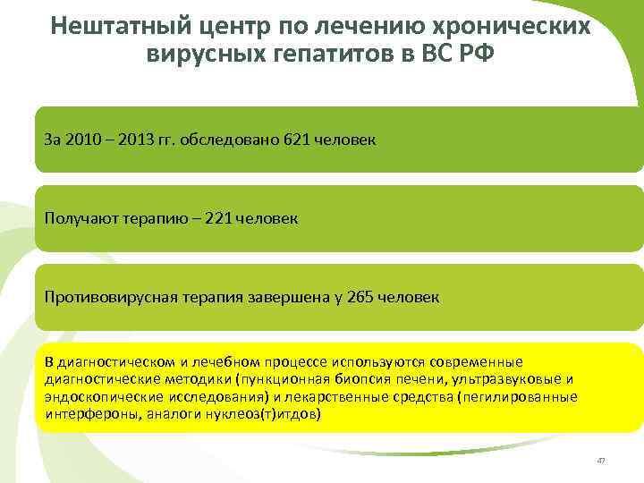 Нештатный центр по лечению хронических вирусных гепатитов в ВС РФ За 2010 – 2013