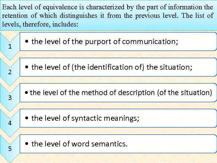 Each level of equivalence is characterized by the part of information the retention of