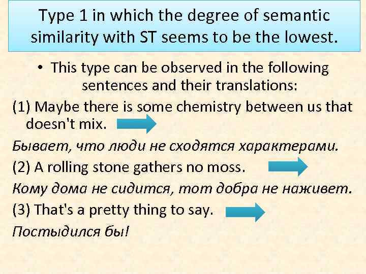 Type 1 in which the degree of semantic similarity with ST seems to be