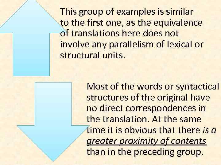 This group of examples is similar to the first one, as the equivalence of