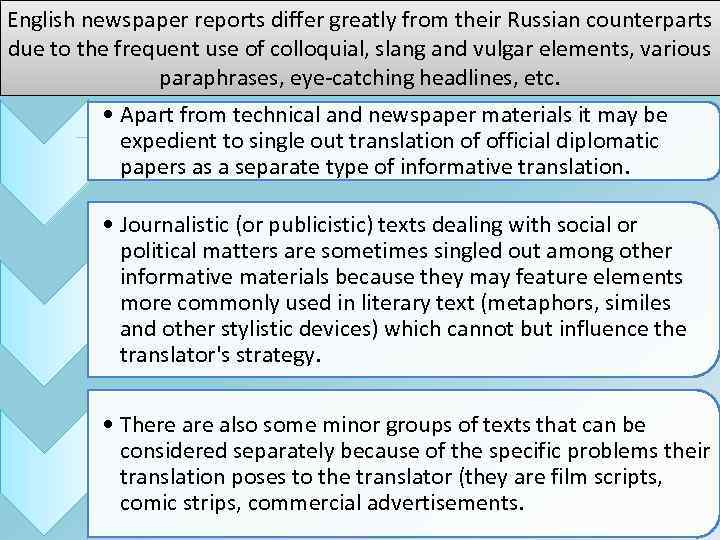 English newspaper reports differ greatly from their Russian counterparts due to the frequent use