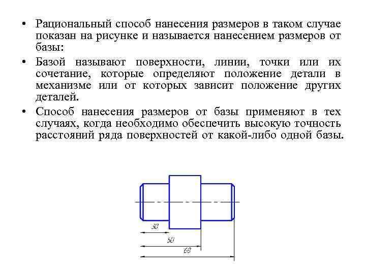 • Рациональный способ нанесения размеров в таком случае показан на рисунке и называется