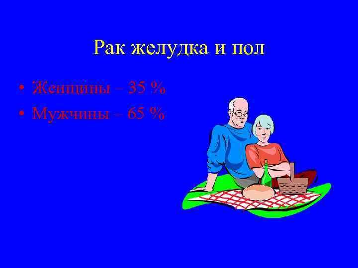 Рак желудка и пол • Женщины – 35 % • Мужчины – 65 %