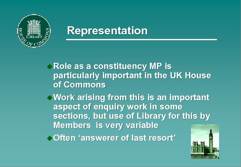Representation u Role as a constituency MP is particularly important in the UK House
