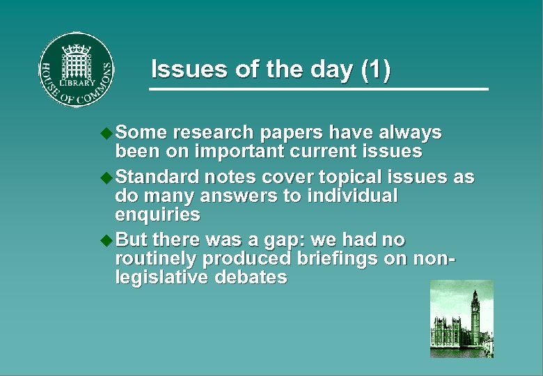 Issues of the day (1) u Some research papers have always been on important