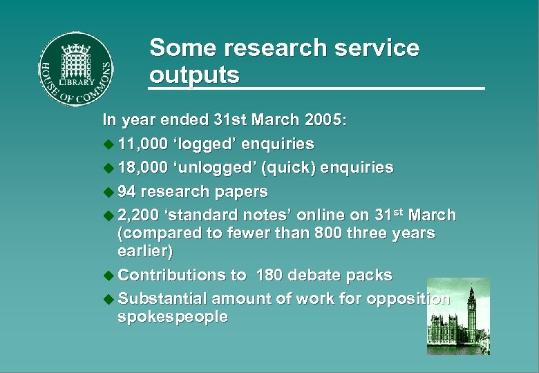 Some research service outputs In year ended 31 st March 2005: u 11, 000