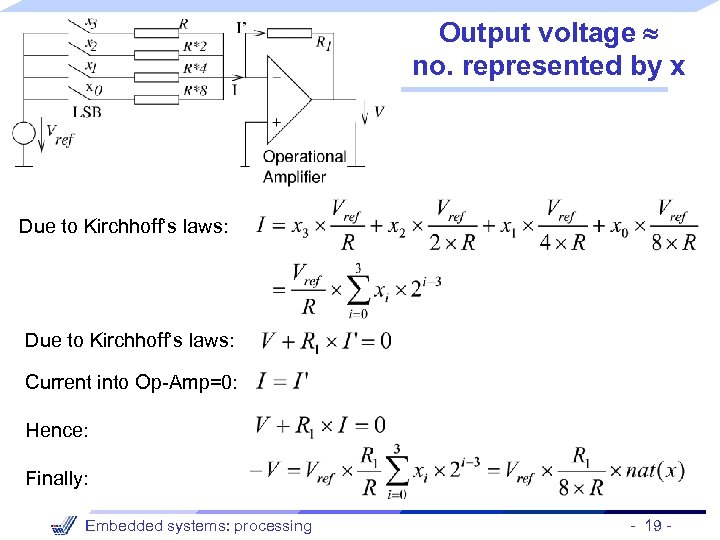 Output voltage no. represented by x Due to Kirchhoff's laws: Current into Op-Amp=0: Hence:
