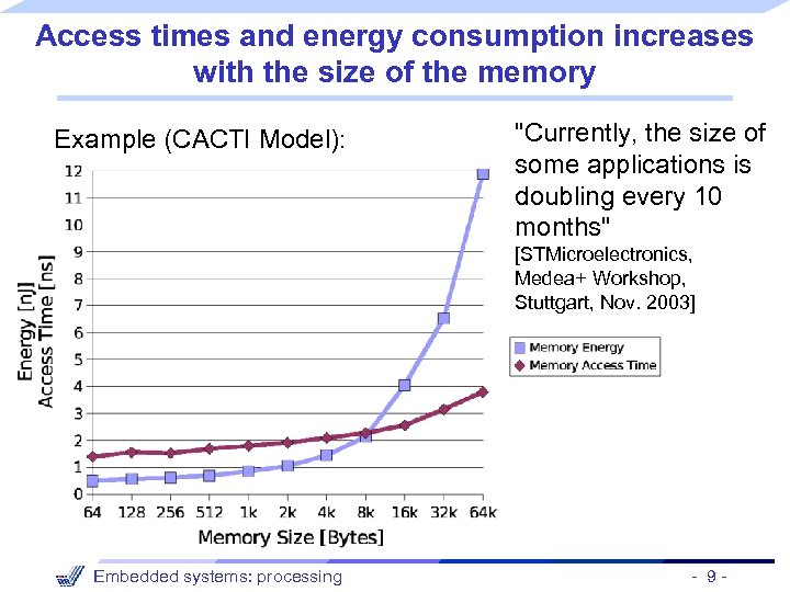 Access times and energy consumption increases with the size of the memory Example (CACTI