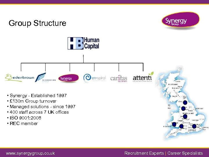 Group Structure • Synergy - Established 1997 • £ 130 m Group turnover •