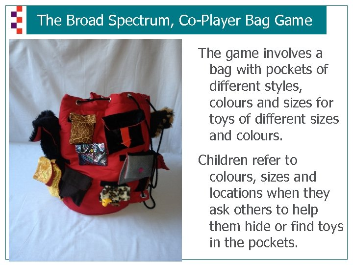 The Broad Spectrum, Co-Player Bag Game The game involves a bag with pockets of