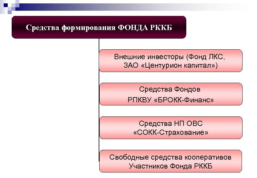 Средства формирования ФОНДА РККБ Внешние инвесторы (Фонд ЛКС, ЗАО «Центурион капитал» ) Средства Фондов