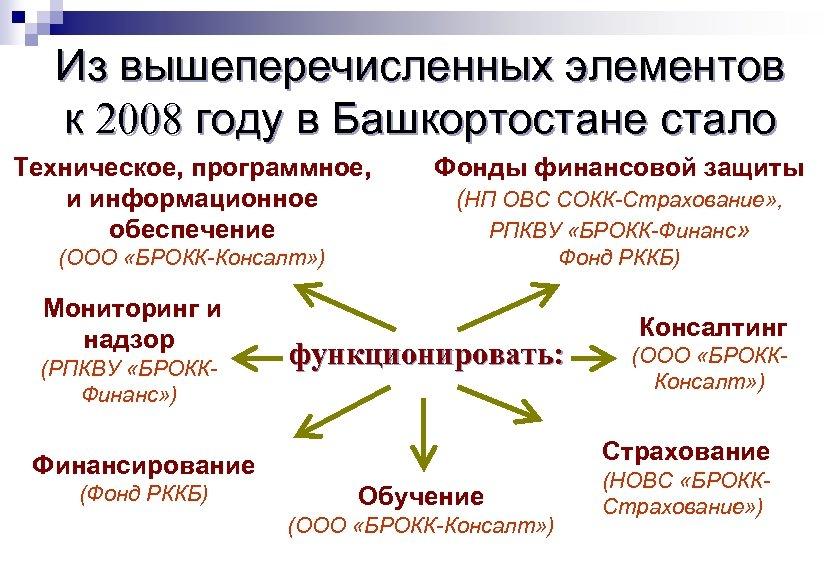 Из вышеперечисленных элементов к 2008 году в Башкортостане стало Техническое, программное, и информационное обеспечение