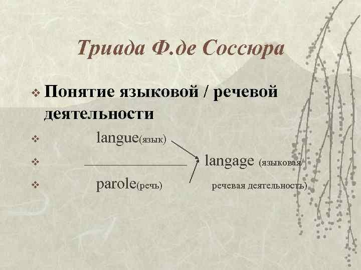 Триада Ф. де Соссюра v Понятие языковой / речевой деятельности v langue(язык) langage (языковая/