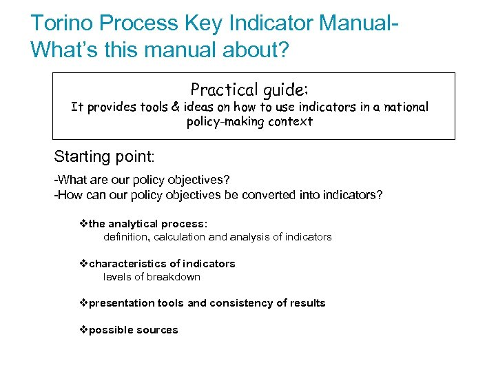 Torino Process Key Indicator Manual. What's this manual about? Practical guide: It provides tools