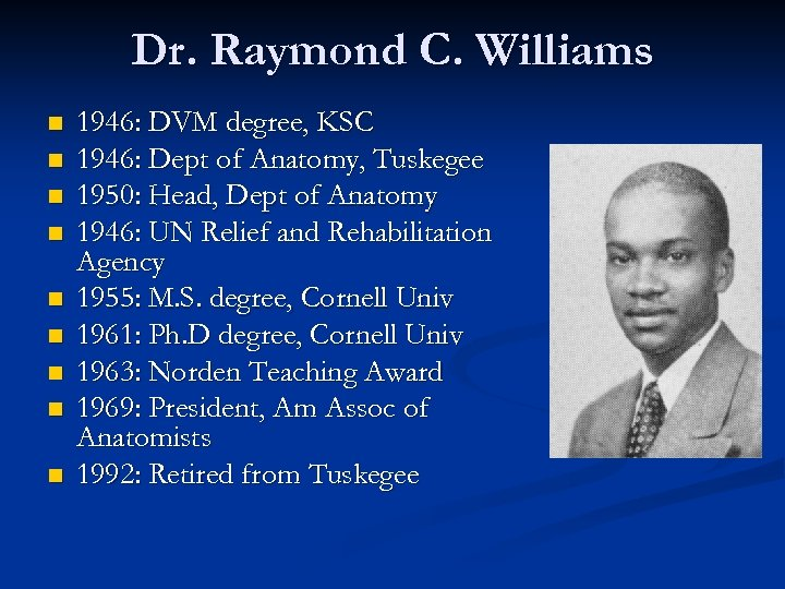 Dr. Raymond C. Williams n n n n n 1946: DVM degree, KSC 1946: