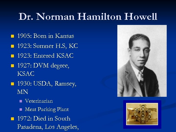 Dr. Norman Hamilton Howell n n n 1905: Born in Kansas 1923: Sumner H.