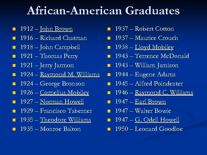 African-American Graduates n n n 1912 – John Brown 1916 – Richard Chatman 1918