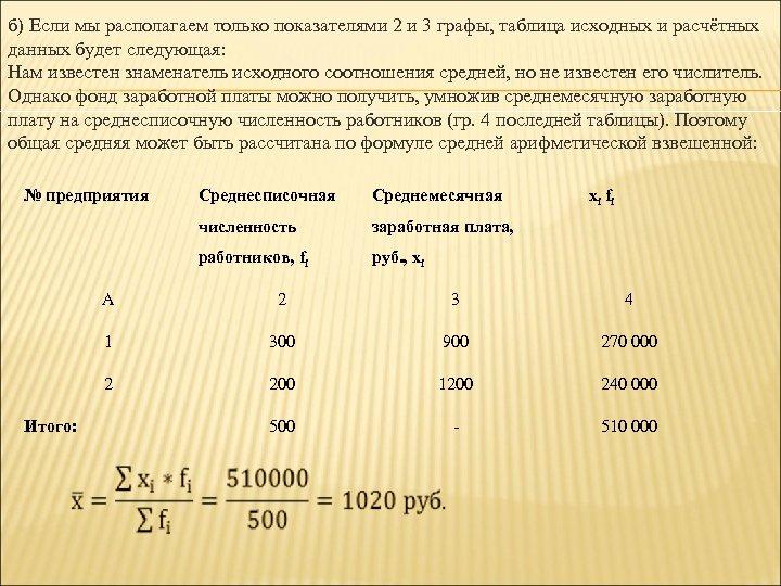 б) Если мы располагаем только показателями 2 и 3 графы, таблица исходных и расчётных