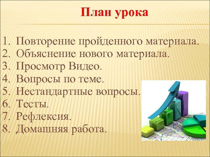 План урока 1. 2. 3. 4. 5. 6. 7. 8. Повторение пройденного материала. Объяснение