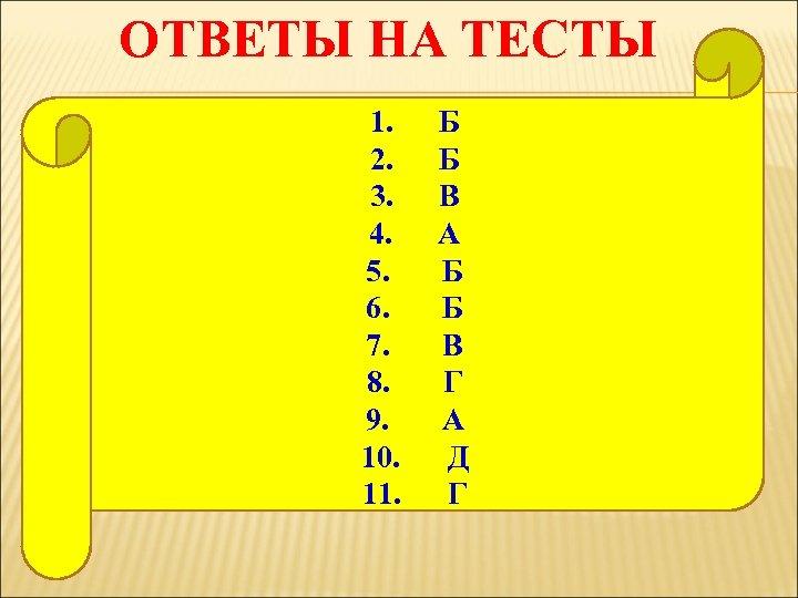ОТВЕТЫ НА ТЕСТЫ 1. Б 2. Б 3. В 4. А 5. Б 6.