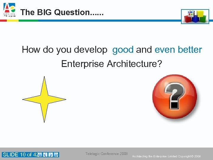 The BIG Question. . . How do you develop good and even better Enterprise