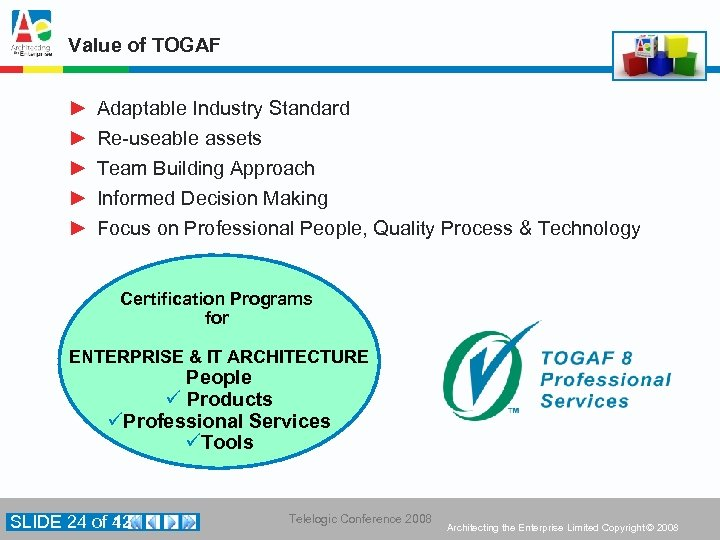 Value of TOGAF ► ► ► Adaptable Industry Standard Re-useable assets Team Building Approach
