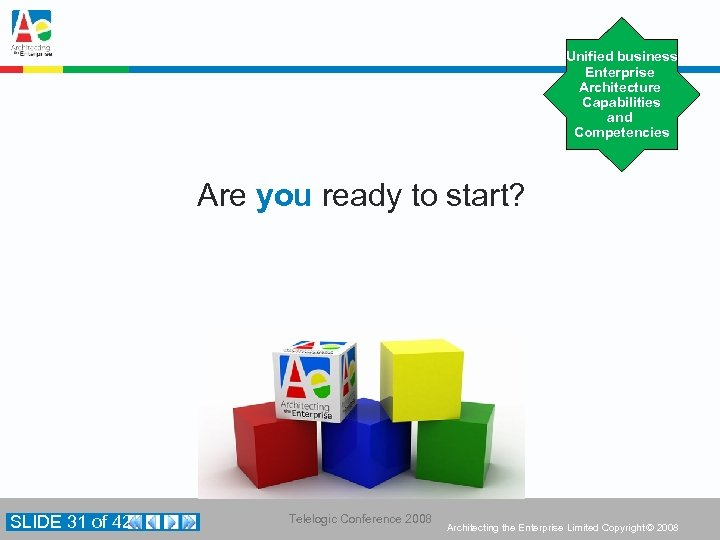 Unified business Enterprise Architecture Capabilities and Competencies Are you ready to start? SLIDE 31