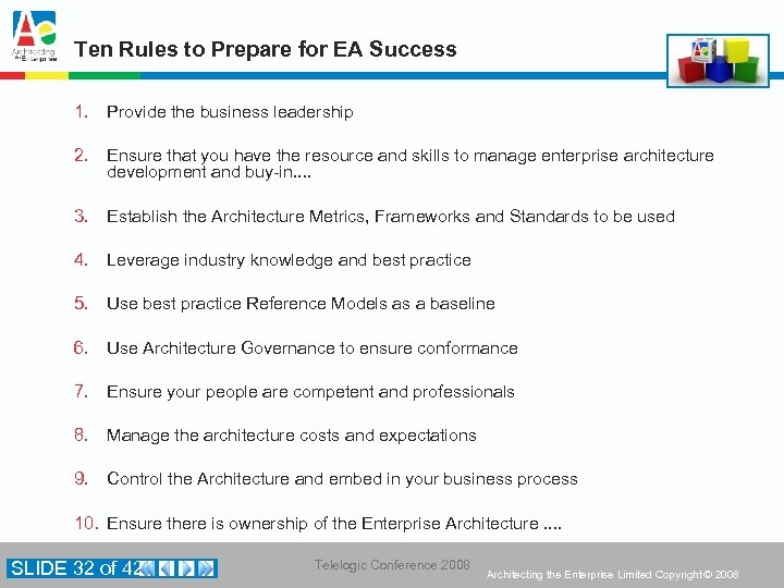 Ten Rules to Prepare for EA Success 1. Provide the business leadership 2. Ensure
