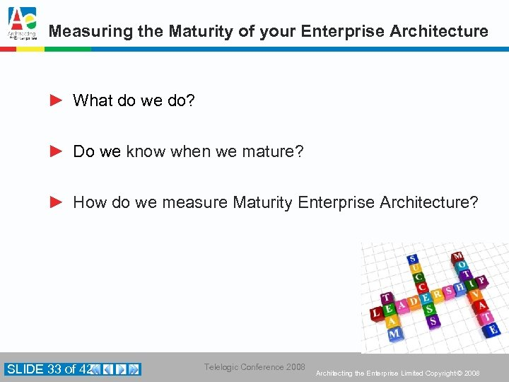 Measuring the Maturity of your Enterprise Architecture ► What do we do? ► Do