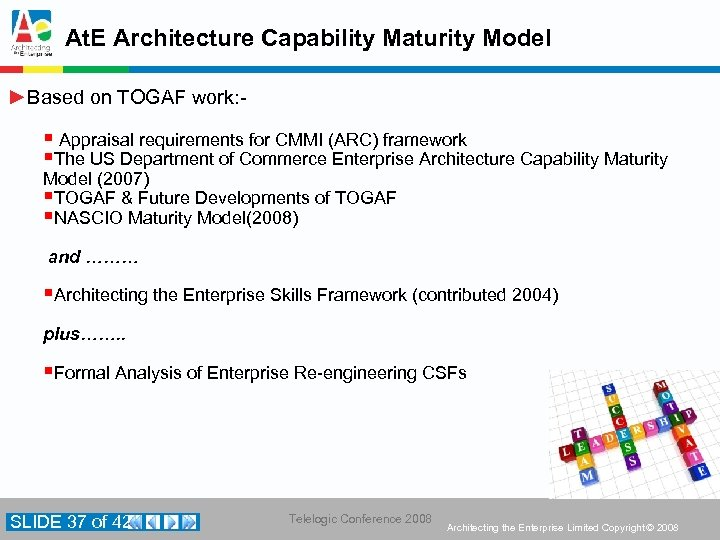 At. E Architecture Capability Maturity Model ►Based on TOGAF work: - § Appraisal requirements