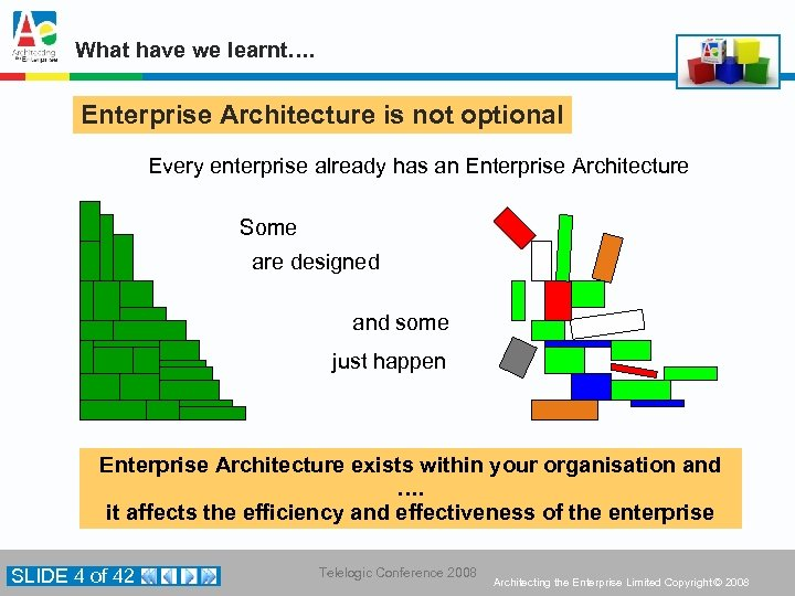 What have we learnt…. Enterprise Architecture is not optional Every enterprise already has an