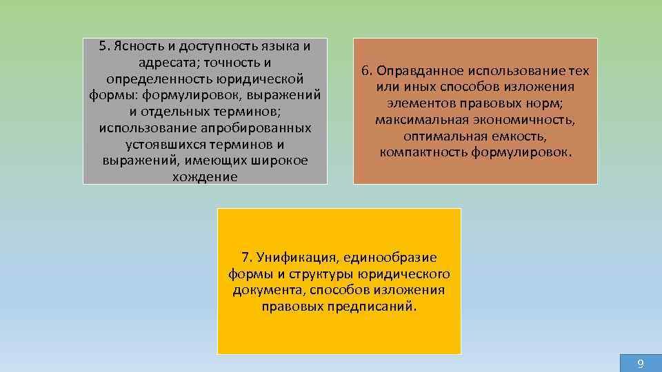 5. Ясность и доступность языка и адресата; точность и определенность юридической формы: формулировок, выражений
