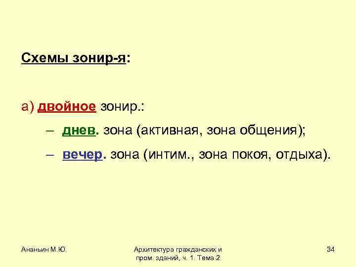 Схемы зонир-я: а) двойное зонир. : – днев. зона (активная, зона общения); – вечер.