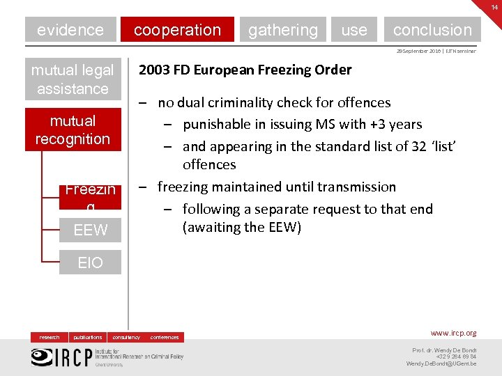14 evidence cooperation gathering use conclusion 29 September 2016 | EJTN seminar mutual legal