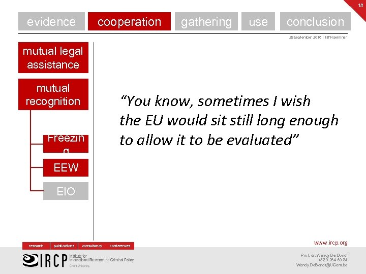 18 evidence cooperation gathering use conclusion 29 September 2016 | EJTN seminar mutual legal