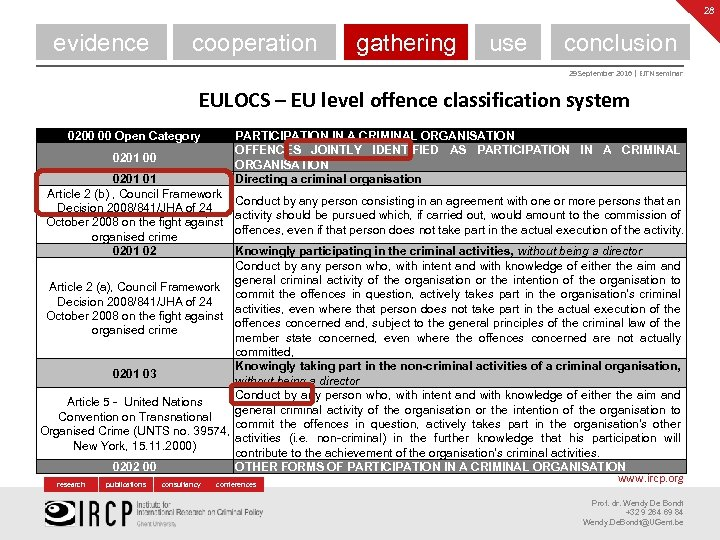 28 evidence cooperation gathering use conclusion 29 September 2016 | EJTN seminar EULOCS –