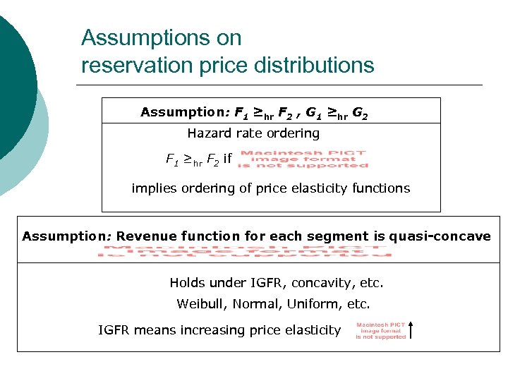 Assumptions on reservation price distributions Assumption: F 1 ≥hr F 2 , G 1