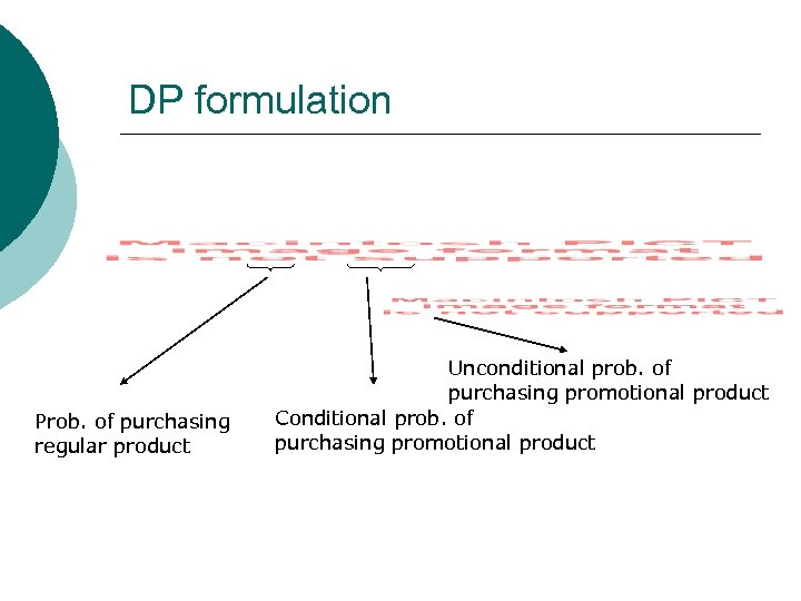 DP formulation Prob. of purchasing regular product Unconditional prob. of purchasing promotional product Conditional