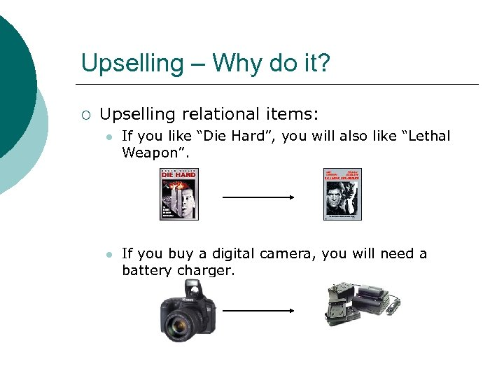 "Upselling – Why do it? ¡ Upselling relational items: l If you like ""Die"