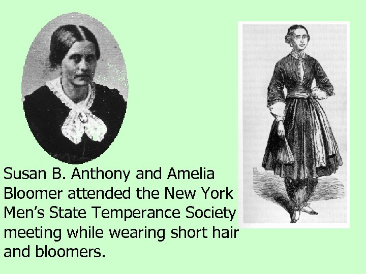 Susan B. Anthony and Amelia Bloomer attended the New York Men's State Temperance Society