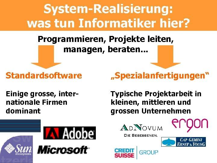 """System-Realisierung: was tun Informatiker hier? Programmieren, Projekte leiten, managen, beraten. . . Standardsoftware """"Spezialanfertigungen"""""""