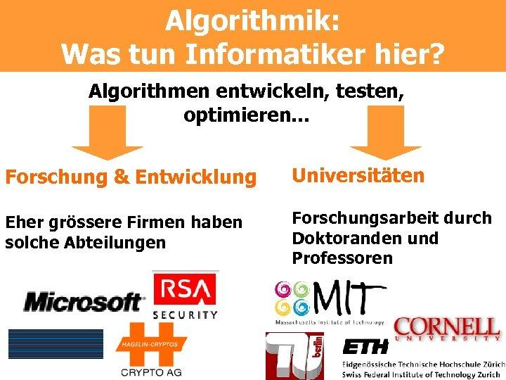 Algorithmik: Was tun Informatiker hier? Algorithmen entwickeln, testen, optimieren. . . Forschung & Entwicklung